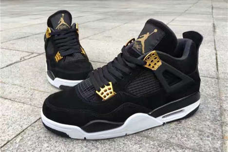 Regally Decorated Sneakers - These New Air Jordan 4s are Finished Off with a Number of Gold Accents