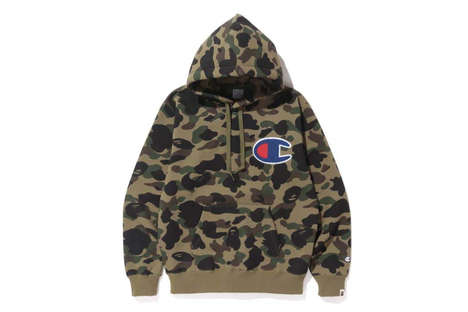 Global Streetwear Partnerships - The BAPE Champion Collection Features Statement Branding from Both