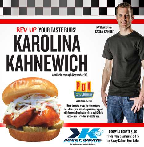 Charitable Driver-Endorsed Sandwiches - PDQ is Teaming Up with Kasey Kahne for a Special Sandwich