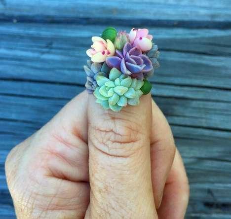3D Botanical Nail Art - Roz Borg Creatively Glues Real Plants onto Her Fingernails