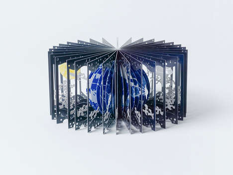 Artistic 3D Moon Books - 360°Book: Earth and the Moon Creates a Visual Experience