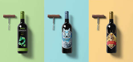 Graphic Illustration Wine Branding - These Wine Label Designs are Ornately Natural and Stylish