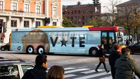 Political Bus Ads - This Anti-Trump Bus Ad in Denmark Encourages Americans Abroad to Vote
