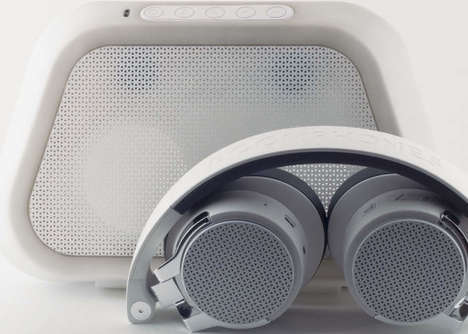 Hybrid Headphone Speaker Systems - The Boomphones 'RE-UP' Headphones and Case are a Perfect Couple
