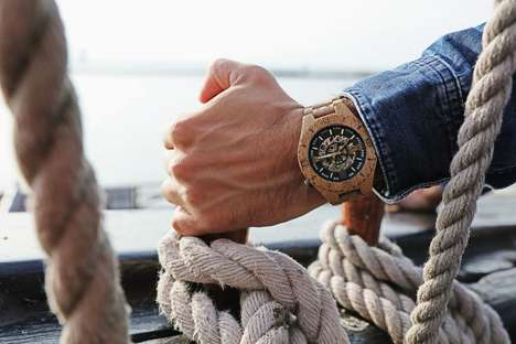 Hypoallergenic Wooden Timepieces - The Troy Skeleton Watches are Stylishly Handcrafted