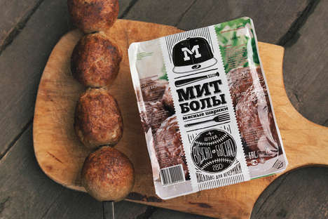 Baseball-Themed Meatball Packaging - Vladimir Luzin's Packaging Design References Baseball Slang