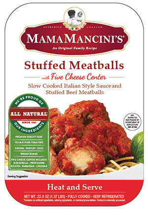 Decadent Prepackaged Natural Meatballs - The Mama Mancini's Stuffed Meatballs are Slow-Cooked