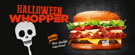 Colorful Halloween Burger Buns - Burger King's Orange Halloween Whopper Resembles a Festive Pumpkin