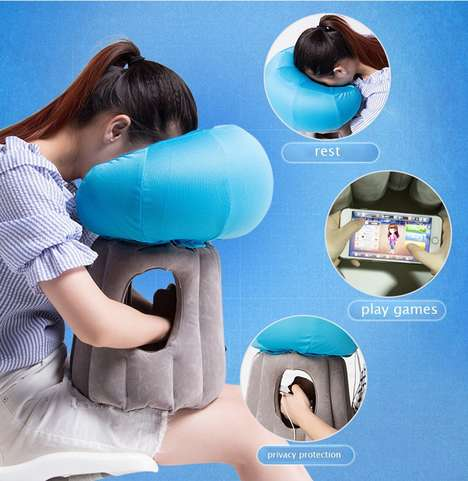 Tech-Centric Travel Pillows - This Travel Air Pillow Enables One to Rest While Using Their Phone
