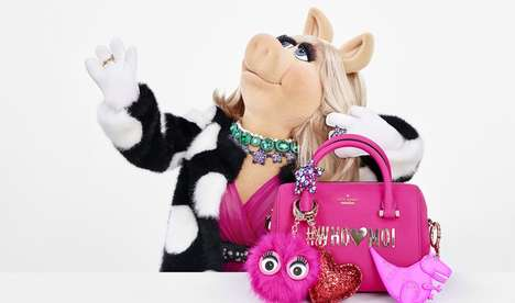 Puppet-Inspired Handbag Collections - The Kate Spade x Miss Piggy Collection is Bathed in Pink