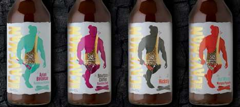 Caveman-Themed BBQ Sauces - The 'Caveman BBQ Sauces' Promotes Itself with Masculine Themes