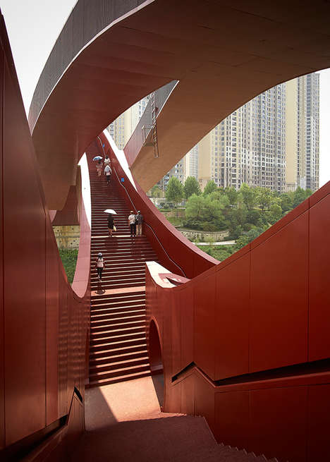 Curved Pedestrian Bridges - The 'Lucky Knot' Bridge in China Was Inspired by the Mobius Strip