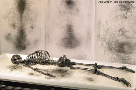 Artistic Graphite Skeletons - Agelio Batle's 'Ash Dancer' Disappears as It Creates Abstract Images