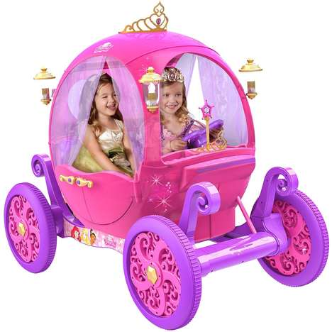 Miniature Princess Mobiles - The Rechargeable Disney Princess Carriage Has Room for Two Children