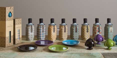 Biomorphic Patterned Olive Oils - These Mediterranean Olive Oils are Decorated with Vibrant Images
