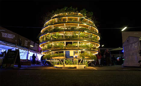 Spherical Greenhouse Pavilions - This Circular Pavilion Features Green Wall Elements
