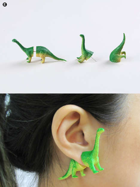 Upcycled Dinosaur Earrings - OOO Workshop's Earrings are Made from Retro Dinosaur Toys