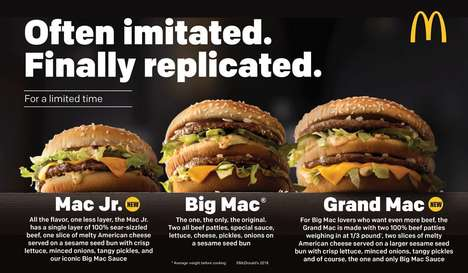 Resized Fast Food Burgers - The Iconic McDonald's Big Mac Burger Now Comes in Two New Sizes