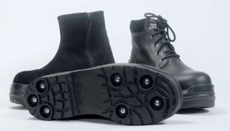 Retractable Spike Ice Boots - Gripforce Boots Feature Spikes that Only Pop Out When Needed