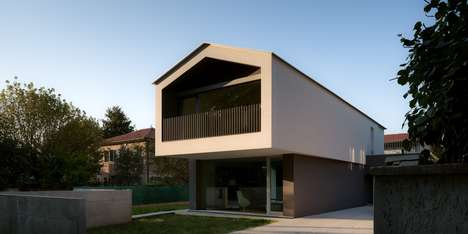 Gabled Cantilevered Houses - MZC Plus' 'Turned House' Combines Modern and Traditional Designs