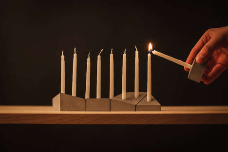 Geometrical Hannukiah Sets - 'The Miracle Edition' Candle Holder is Kosher for Hannukah
