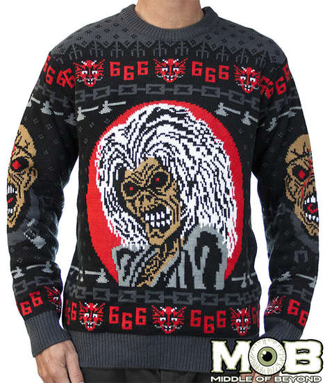 Heavy Metal Christmas Sweaters - Middle of Beyond's Iron Maiden Sweater is Perfect for the Holidays