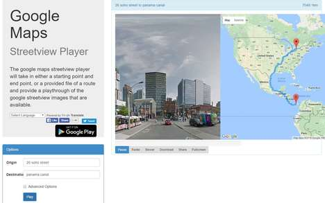 Online Map Animators - 'Google Maps Streetview Player' Collates Images for a Complete Trip