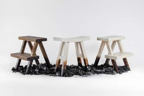 Rustically Scorched Step Stools - The 'Burnt Stool' Features a Burnt Finish That's Somewhat Brash