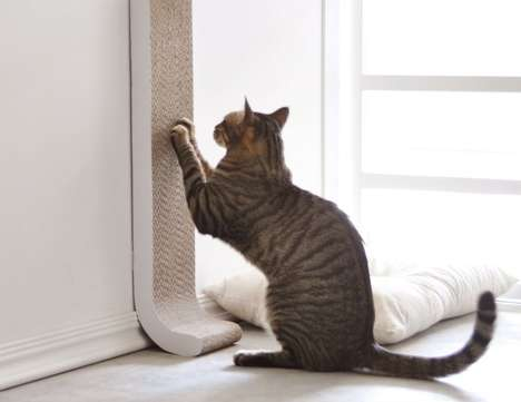 Discreet Cat Scratch Posts - The '4CLAWS' Wall Mount Cat Scratch Post Merges with Home Decor
