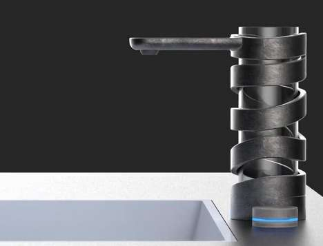 Coiling Spiral Water Facuets - The 'Mistral' Modern Faucet from Giacomini Design is Luxe