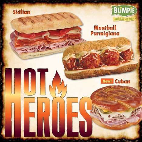 Warming Submarine Sandwiches - Blimpie's New Hot Hero Subs Help Consumers Stay Warm This Holiday