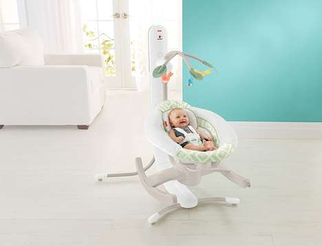 Multidirectional Connected Cradles - The Fisher-Price 4-Motion Cradle Swing Features Smart Connect