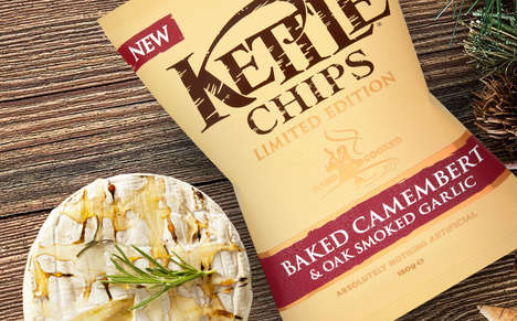Cheesy Christmas Potato Chips - The New Kettle Chips Flavor Tastes of Baked Camembert and Garlic