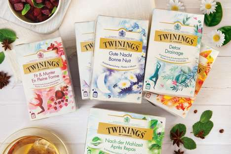 Bespoke Illustration Tea Packaging - These Twinings Healthy Teas Feature Experiential Imagery
