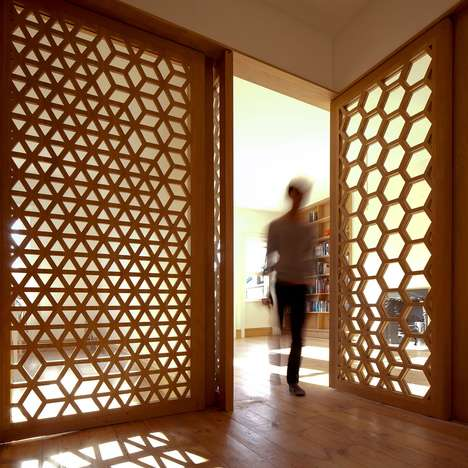 Modular Geometric Partitions - Studio Ben Allen's Patterned Screens Separate a London Apartment