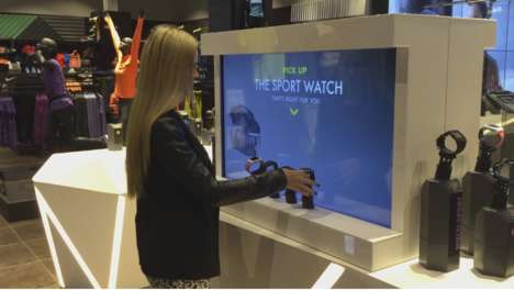 Interactive Smartwatch Displays - This Display for the GO Sport Smartwatch is a Hands-On Experience