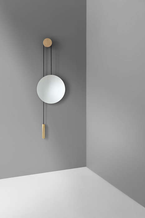 Pulley-Operated Wall Mirrors - The Rise & Shine Wall Mirror Easily Adjusts to People's Heights