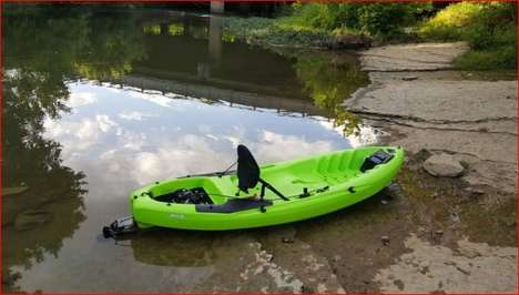 Lightweight Engine-Equipped Kayaks - The 'KMB' Kayak Boat is Outfitted with a Powerful Gas Engine