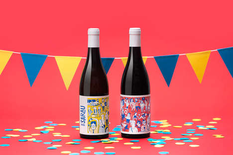 Party-Themed Wine Bottles - These Spanish Wines Were Designed by the Agency 'Enserio'