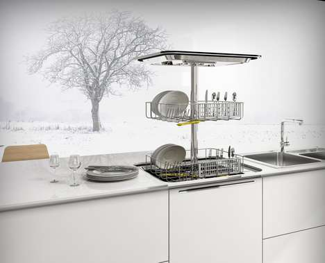 Pop-Up Countertop Dishwashers - This Vertical Dishwasher Machine Design Streamlines the Appliance