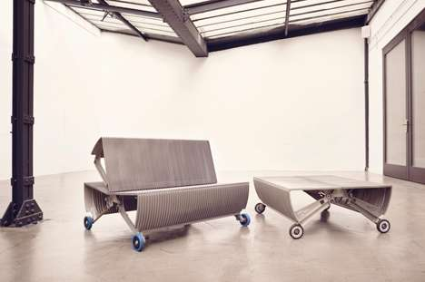 Upcycled Escalator Stair Benches - The 'de_escalator' is Crafted Using Salvaged Escalator Parts