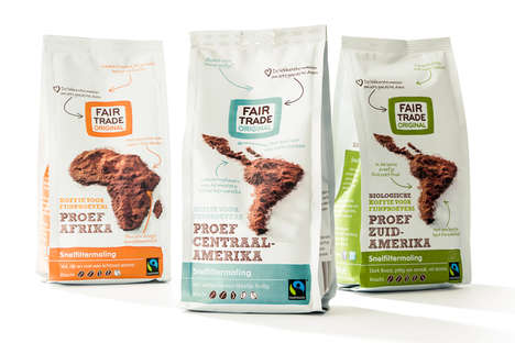 Geographic Fair Trade Coffees - This Beverage's Branding Features Maps Made from Coffee Grounds