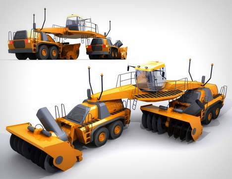Multi-Position Snow Removal Vehicles - The Dual Snow Blower Makes Snow Removing Quicker