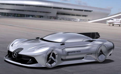 Jet-Powered Supercars - The 2040 Mercedes-Benz W196R Streamliner Jet Engine Vehicle is Fierce