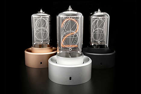 Antiquated Industrial Design Clocks - The Blub Keo Nixie Tube Clock Displays the Time and More