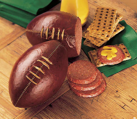 Football-Shaped Meat Snacks - The Football Summer Sausage Looks Like a Real Piece of Equipment