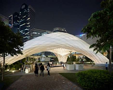 Arched Translucent Bamboo Pavilions - ZCB Bamboo Pavilion in Hong Kong is Designed to Host Events