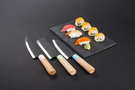 Minimalist Japanese Knife Sets - This Kitchen Tool Branding is Both Simple and Informative