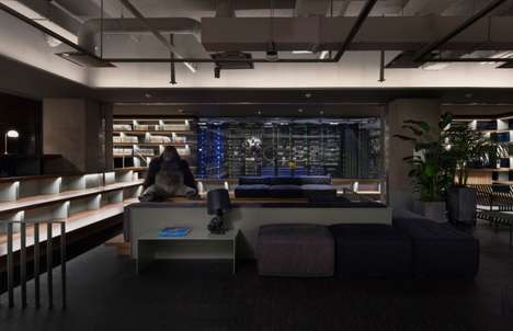 Dimly Lit Office Interiors - This Office Space Features Minimal Lighting and Sculptural Decor
