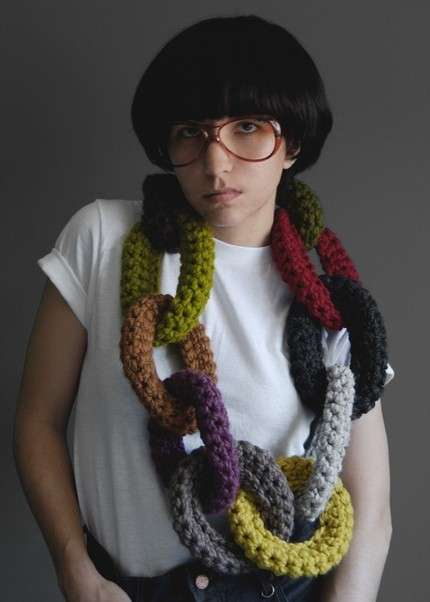 Knitted Chains - The Oversized Chain-Link Scarf Doubles As A Giant Necklace